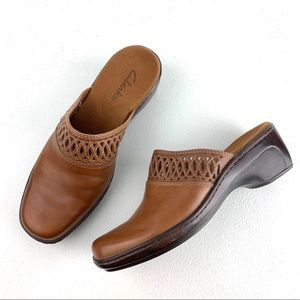 Clark's Brown Leather Mules with cut outs 7 1/2 M